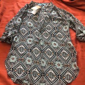 NWT! Francesca's Tribal Print 3/4 Sleeve Top